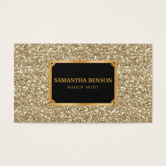 Funky Gold Glitter Makeup Artist Hair Stylist Business Card
