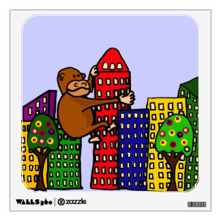 Funky Gorilla Climbing Colorful Buildings Wall Decor
