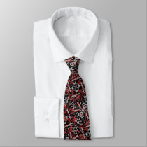 Funky Graffiti Scribbles Red and Black Neck Tie