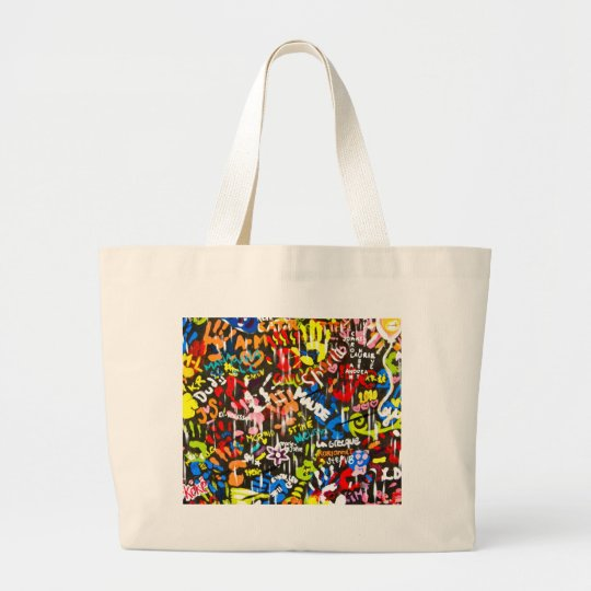 funky graffitis large tote bag