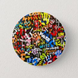 funky graffitis pinback button