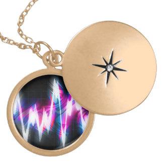 Funky Graphic EQ Audio Waveform Locket Necklace