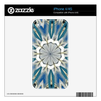 Funky Gray Blue Mandala Pattern Skins For iPhone 4