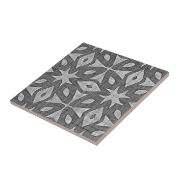 LolasClassyCeramics Funky Gray Faux Batik Linen Squares Pattern Tile