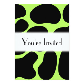 Funky Green and Black Cow Pattern. 5x7 Paper Invitation Card