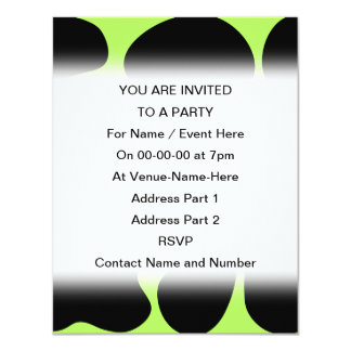 Funky Green and Black Cow Pattern. 4.25x5.5 Paper Invitation Card