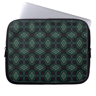 Funky Green and Black Gothic Cross Style Diamond Computer Sleeve