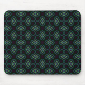 Funky Green and Black Gothic Cross Style Diamond Mouse Pad