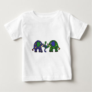 Funky Green and Blue Spotted Elephants Baby T-Shirt