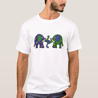 Funky Green and Blue Spotted Elephants T-Shirt