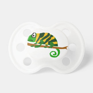 Funky Green and Yellow Chameleon Lizard Art Pacifier