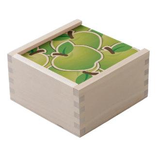 Funky green apples wooden keepsake box