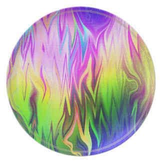 Funky Green Blue and Pink Flames Fractal Art Melamine Plate