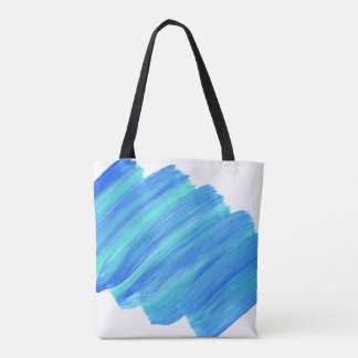 Funky Green & Blue Paint Stroke Tote Bag