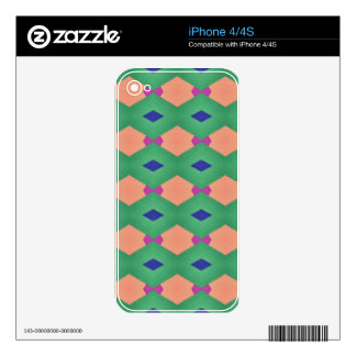 Funky Green Blue Peach Seamless Pattern iPhone 4 Decals
