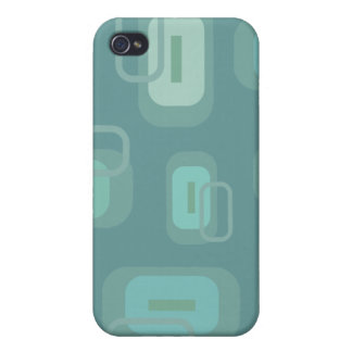 Funky Green Blue Retro Rectangles Customizable Covers For iPhone 4
