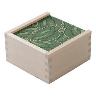 Funky green cabbage wooden keepsake box