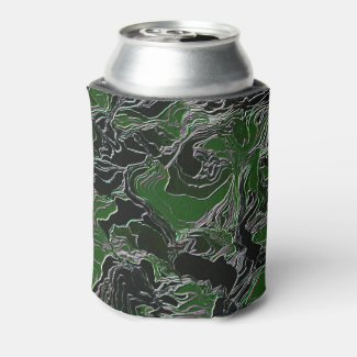 Funky Green Camo Can Cooler