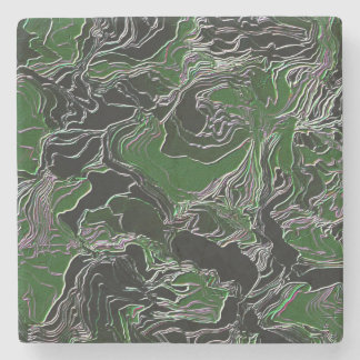 Funky Green Camouflage Stone Coaster