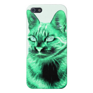 Funky green cat negative iPhone SE/5/5s cover