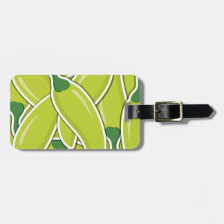 Funky green chilli peppers bag tag