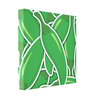 Funky green chilli peppers canvas print