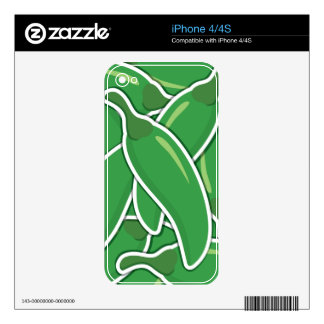 Funky green chilli peppers decals for iPhone 4