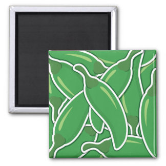 Funky green chilli peppers magnet