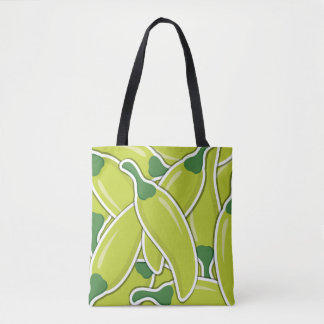 Funky green chilli peppers tote bag