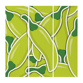 Funky green chilli peppers triptych