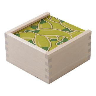 Funky green chilli peppers wooden keepsake box