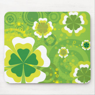 Funky Green Flowers Mouse Mats