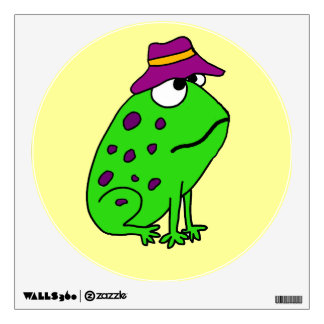 Funky Green Frog in Fishing Hat Wall Decal