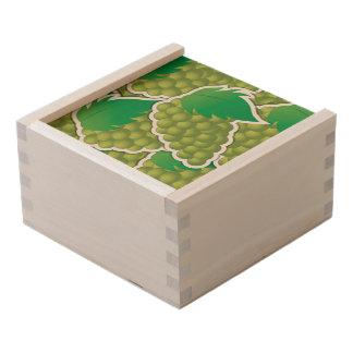 Funky green grapes wooden keepsake box