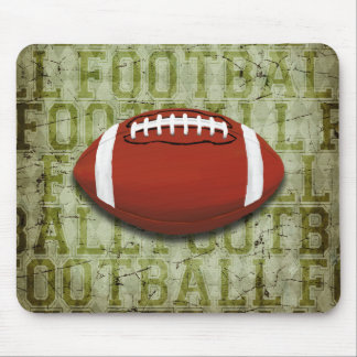 Funky Green Grunge Football Mouse Pad