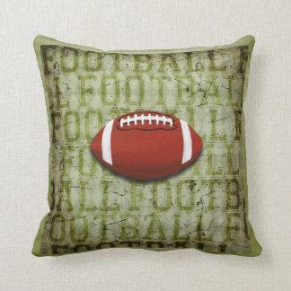 Funky Green Grunge Football Throw Pillow