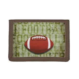 Funky Green Grunge Football Tri-fold Wallet