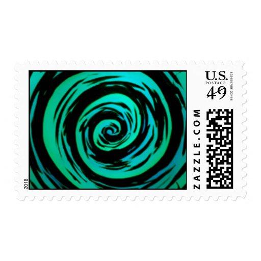 Funky Green Hypnotic Swirl Art Postage Stamp