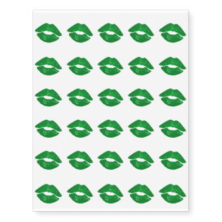 Funky Green Irish Kisses Saint Patrick's Day Temporary Tattoos