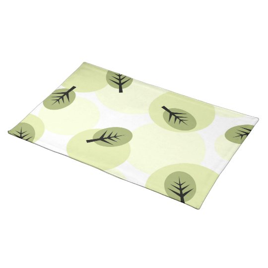 Funky green leaves pattern placemat