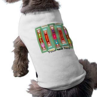 Funky green multicolored rectangles dog t shirt