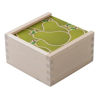 Funky green pears wooden keepsake box