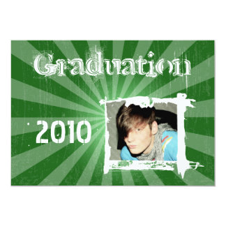 Funky Green Rad Grad Grunge Graduation Invitations