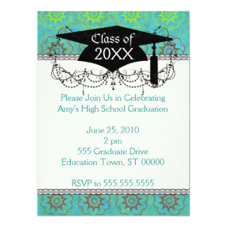 funky green shabby chic graduation card