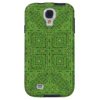 Funky Green Squares and Diamonds Geometric Pattern Galaxy S4 Case