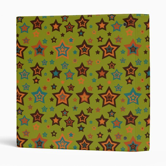 Funky Green Star Pattern 3 Ring Binder