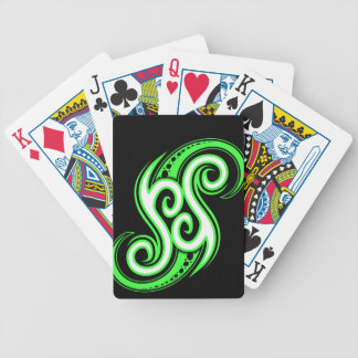Funky Green Swirl Design Playing Cards