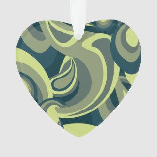 Funky green swirl pattern ornament