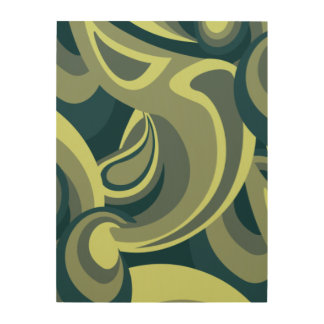 Funky green swirl pattern wood print