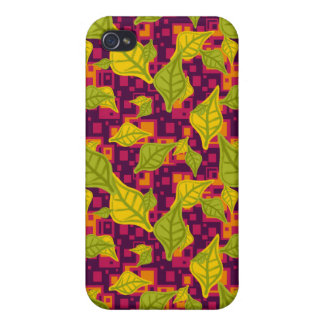 Funky Green Yellow Leaves Pattern Speck Case iPhone 4 Cover
